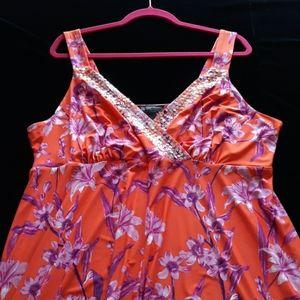 Orange & Fushia Sequin Trim Dress